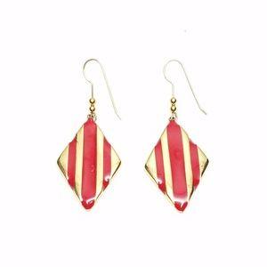 Vtg Classy Monet Gold Red Enamel Rhombus Earrings
